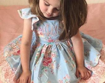vintage floral dress, ruffled dress, twirl dress, floral dress, two tier dress