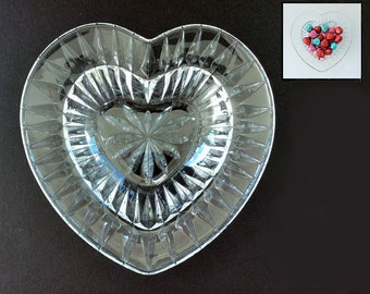 Vintage Cut Glass Heart-Shaped Bowl or Candy Dish for Valentine's Day