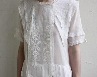 Antique 1910s batiste gauze day dress