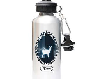 """Harry Potter Snape """"Always"""" Inspired 600ml (20oz) Silver Aluminum Water Bottle w/2 Included Caps!  Sport Top AND Screw Top"""