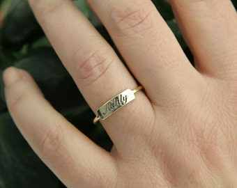 Dainty Gold Bar Ring-Personalized Ring-Personalized Gift-Custom Bar Ring-Bridesmaid Gift-Personalized Jewelry