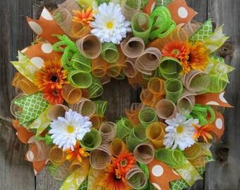 Spring wreath, Gerber daisy wreath, orange wreath, green wreath, summer wreath, spring door hanger, spring mesh wreath