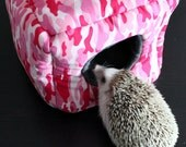 Pink camouflage cosy cube house, small pet home - Hidey for hamster, hedgehog, rat - small animal bedding. Fleece lined.