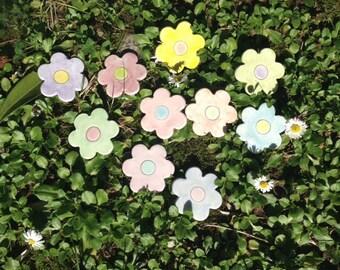 SET of ten ceramic flowers -Easter decoration