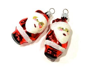 VINTAGE: 2 Santa Mercury Ornaments - Christmas Ornaments - Hand Painted Ornament - (Tub-403-00006286)