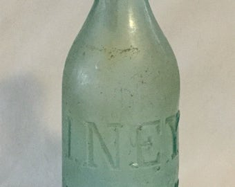 Antique 1862 I.N.E.Y New York Aqua Glass Bottle