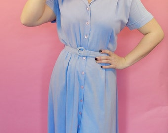 1940s inspired pale blue day dress