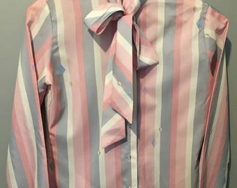 Vintage 1970s Porruzza Pastel Stripes and Diamonds Bow Blouse - Size 7/8