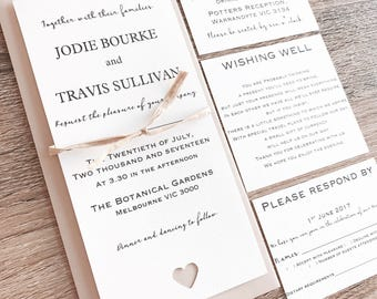 Personalised Wedding Invitation Set With Wishing Well, RSVP, Reception. Raffia & Envelope. Guest names