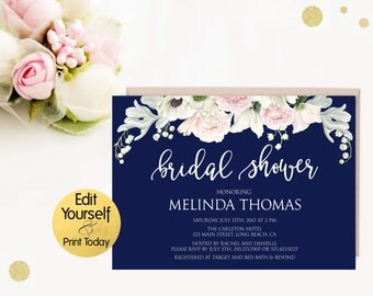 Navy Bridal Shower Invitations Invitation Template Editable Invite