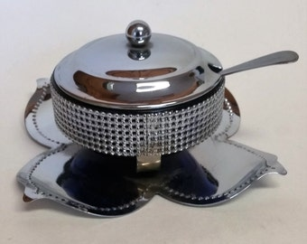 Vintage Chrome Plated Lidded Sugar Dish  with Cobalt Blue Glass Liner and Spoon