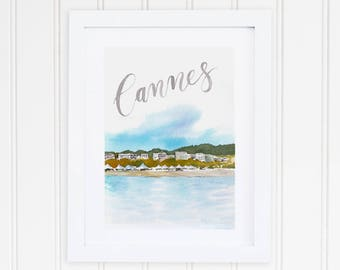 Watercolor Cannes France Print | Cannes France Watercolor Art | Cannes France Watercolor Painting | French Travel Art | City Print Set