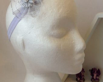 Lilac and Silver Flower Headband