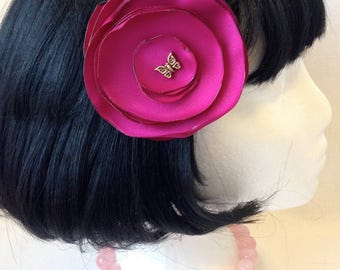 Bright Pink Flower Hair Clip
