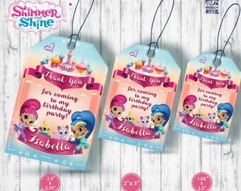 Shimmer and Shine Thank You Tags, Custome, Shimmer and Shine Gift Tags, Favor Tags, Shimmer and Shine Birthday Tags, Printable Tag