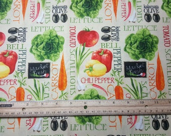 Vegetable Fabric, by the yard or Fat Quarter, FQ, Cook, Foodie, Gardening, Tomato, Chili Pepper, Kalamata Olive, Lettuce, Carrot, Quilting