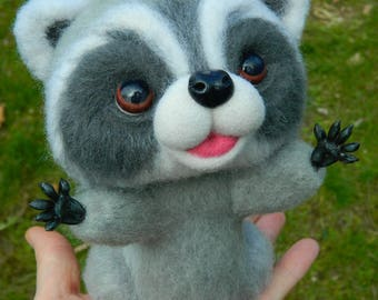 MADE TO ORDER Needle Felted Collectible Raccoon toy Woodland Animals Racoon Felted animal Raccoon Art Funny Animal Art  Cute Felt Toys