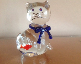 Glass Cat With Fish in Belly Paperweight