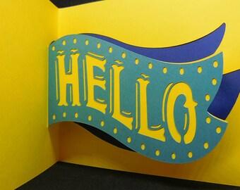 Sending you a big Hello pop up card