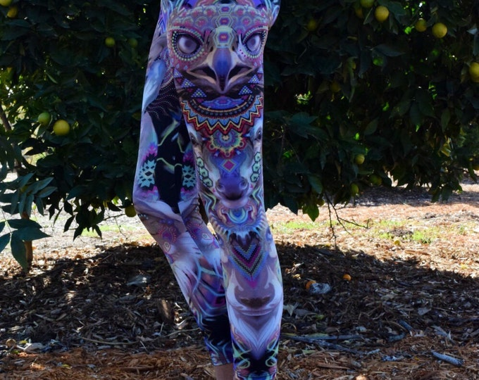 Wolf Deer Hawk Totem Psychedelic Leggings Yoga Pants