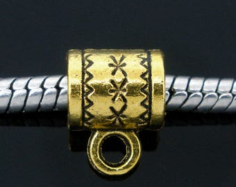 25 European Style Antique Gold Tone Bail, 8 mm x 6 mm (1509)