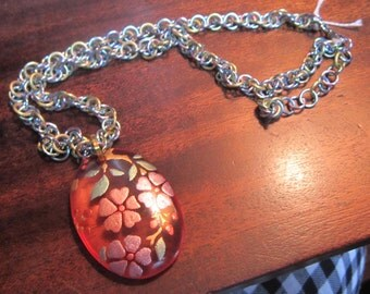 Pastel Aluminum Chainmaille Necklace with Oval Focel