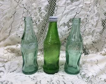 Vintage Glass Soda Pop Coke Coca-Cola Sprite Bottle Green Old Bottles