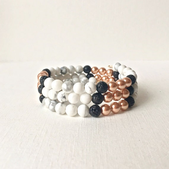 Essential Oil Diffuser Wrap Bracelet -  Memory wire bracelet -Black lava rock with rose gold and white howlite beads