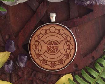 Goddess Moon Cycle with Pentagram - Laser Engraved Wood Pendant Necklace- pagan, wicca, witch.