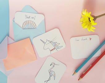 Mini greeting cards / Unicorn cards / flamingo cards / Shell cards / Mermaids / mini cards