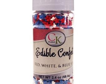 Edible Confetti Red, White, and Blue Stars - 2.4 oz
