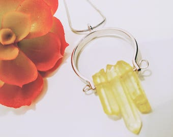 Citrine Pendant Necklace - For Her - Gift - Birthday