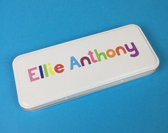 Personalised Pencil Case Tin - Any Name in Multicoloured Text