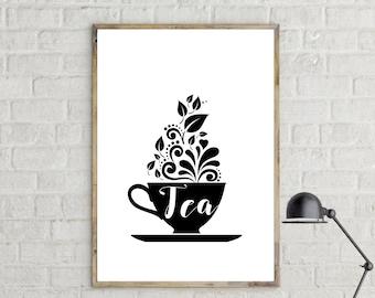 Tea Poster. Tè poster. Instant Download. Wall art. Abstract art. Print art. Modern art. Typography Poster. Digital art.
