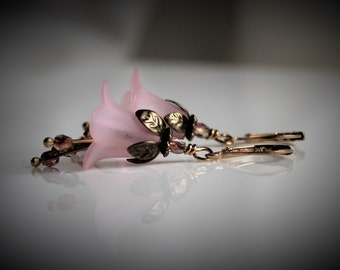 Pink Lily Lucite Flower Earrings