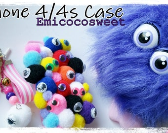 Sale 50 % Pom Pom Phone Case,Decoden Kawaii iPhone iPhone4/4s Case Cover,Kawaii Phone Case,Monster Phone Case,Monster Phone ,Pompom case