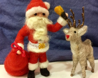 Needle feltedSanta Clause and Rudolph, felted Santa, felted Father Christmas, felted Christmas, felted Rudolph, felted reindeer, wool santa