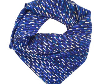 Silk scarf / Gift for her / 100% silk crepe de chine scarf / Blue, teal and cream strokes on navy