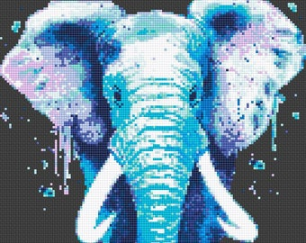 Elephant Cross Stitch Pattern Watercolor Elephant chart Counted cross stitch Modern Embroidery Baby Animal cross stitch Instant Download PDF