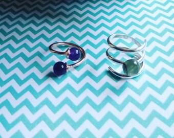Silver spiral ring adjustable Pierre Labradorite / Zelina /bague money/jewelry silver jewelry
