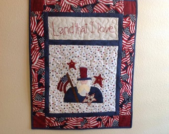 Appliqued and Quilted Patriotic Wall Hanging