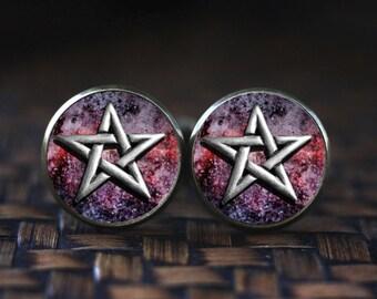 Pentagram Cufflinks, Pentacle Cufflinks, Occult Cufflinks, Satan Wiccan Cufflinks, Sacred geometry men's Cufflinks, Steampunk Cufflinks