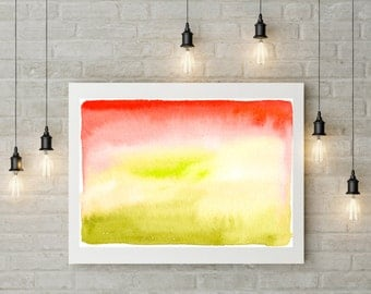 "REL4X - Relax Abstract Watercolor Painting Large Photo Poster Print (Sizes  18"" X 12"" / 24"" X 16"" / 36"" X 24"") - Green Red White Nature"