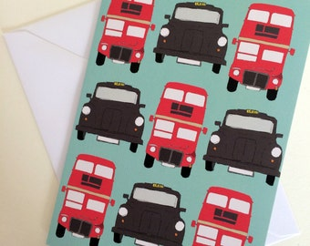 Black cabs and red buses- transport print Note/Greetings Card/Invitation