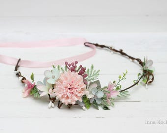 Pink blue flower crown  Flower hair wreath Flower halo Boho flower crown Wedding flower crown Bridal floral crown Floral crown Wedding halo