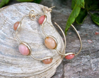 Vintage Chalcedony Sterling Silver Hoop Earrings, Sterling Silver,  Pink Chalcedony, Hoop Earrings, Gemstone Jewelry, Gifts for girlfriend