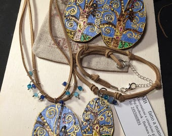 Pirografata handcrafted wooden jewelry sets and painted tree of life