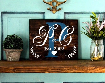 Custom Name Wood Sign, Family Established Initial sign. Wooden Shiplap Lightly distressed. Wedding gift, Anniversary Farmhouse Inspired