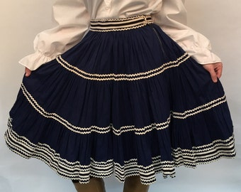 Women's XS Vintage Navy and White High-Waisted Texas Rodeo Ruffle Circle Skirt