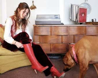 Size 9 red genuine Italian leather heeled knee-high boot